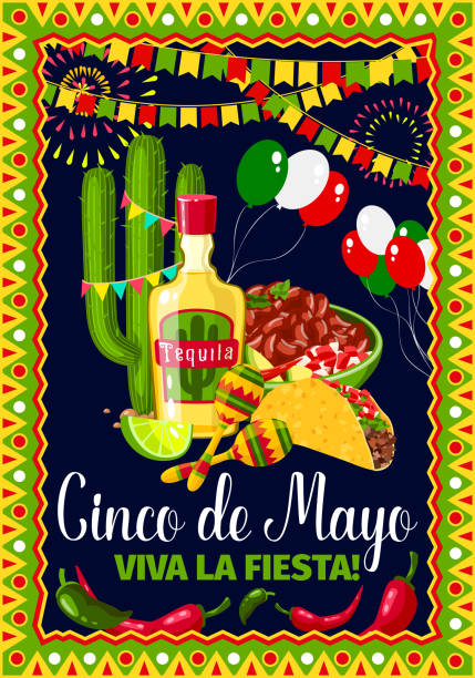 Cinco de Mayo Mexican holiday vector greeting card Cinco de Mayo greeting card for Mexican holiday fiesta celebration. Vector design of traditional Mexico symbols of jalapeno pepper and cactus tequila, tacos and balloons for Cinco de Mayo party avocado borders stock illustrations