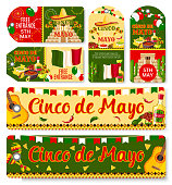 Cinco de Mayo Mexican holiday fiesta celebration tags with greetings and traditional Mexico symbols. Vector Mexican flag, jalapeno pepper and cactus tequila, guitar and avocado for Cinco de Mayo party