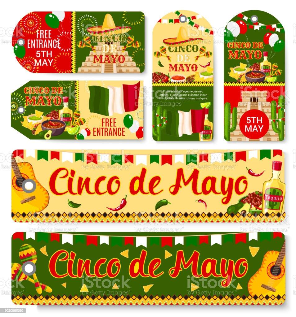 Cinco de Mayo Mexican holiday vector tags vector art illustration
