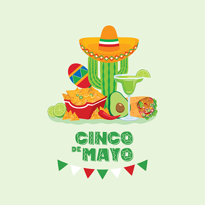 Cinco de Mayo Mexican holiday with Mexican food and drink vector