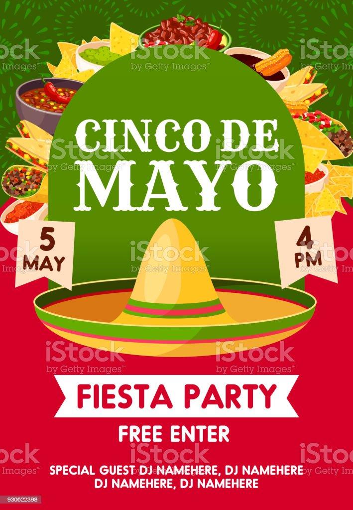 cinco de mayo mexican party banner invitation stock vector art