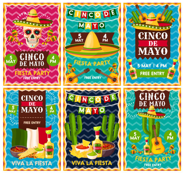Cinco de Mayo mexican party party banner design Cinco de Mayo mexican fiesta party banner set for Latin American holiday invitation design. Festive skull with sombrero hat, maracas and chili pepper, tequila margarita, guacamole, cactus and guitar cinco de mayo stock illustrations