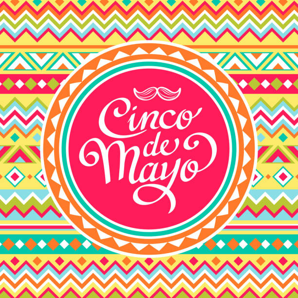 Cinco De Mayo Mexican Pattern The colorful Mexican pattern make wonderful invitations for the traditional festival Cinco De Mayo candy clipart stock illustrations