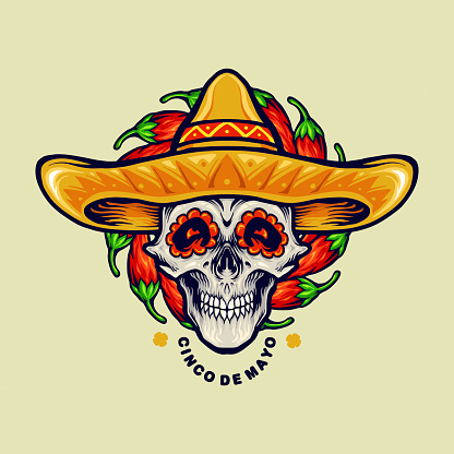 """Cinco De Mayo Mexican Skull Illustrations illustrations for your work Logo, mascot merchandise t-shirt, stickers and Label designs, poster, greeting cards advertising business company or brands.""""n"""
