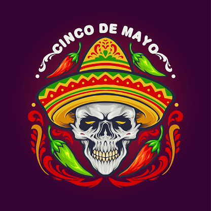 Cinco De Mayo Mexican Skull with Hat illustrations for your work Logo, mascot merchandise t-shirt, stickers and Label designs, poster, greeting cards advertising business company or brands.