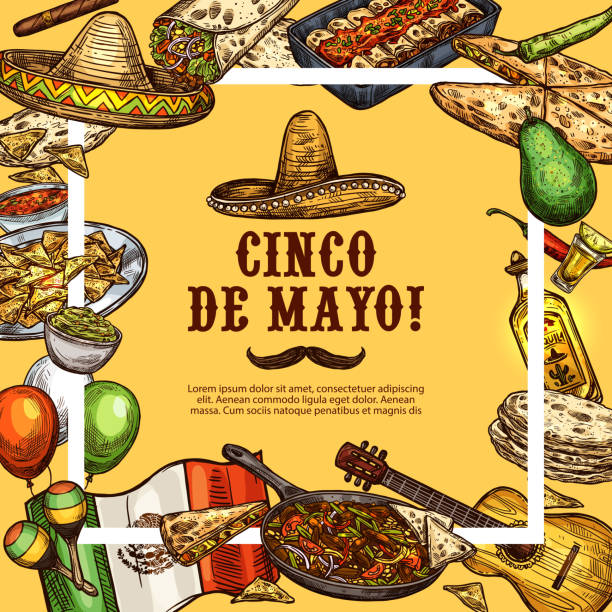 cinco de mayo mexikanischen sombrero und fiesta essen - tortillas stock-grafiken, -clipart, -cartoons und -symbole