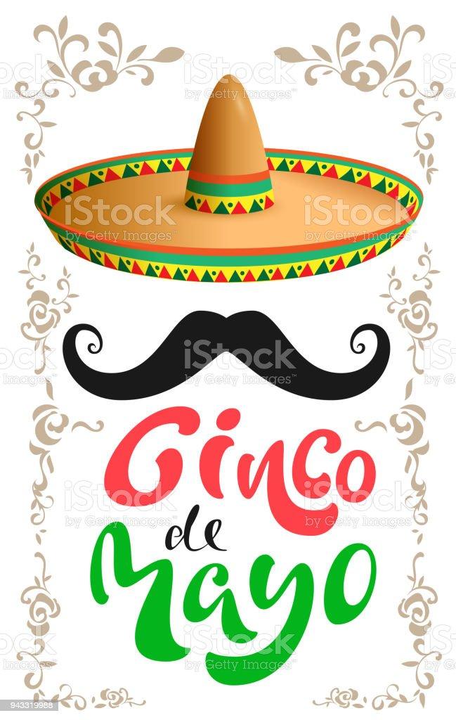Ilustración de Cinco De Mayo Sombrero Mexicano Sombrero Bigote Negro ... 97e72cac0b9