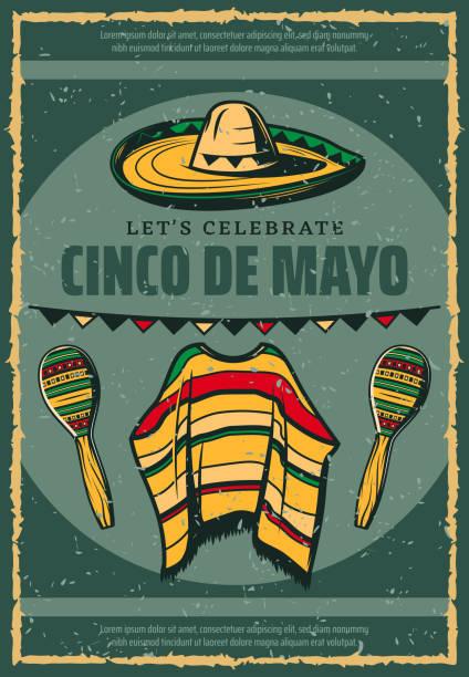 cinco de mayo mexican sombrero retro sketch poster - cinco de may stock illustrations, clip art, cartoons, & icons