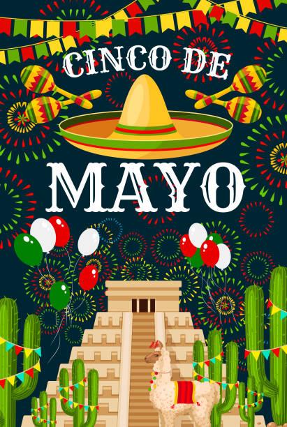 cinco de mayo mexican sombrero vector greeting - cinco de may stock illustrations, clip art, cartoons, & icons