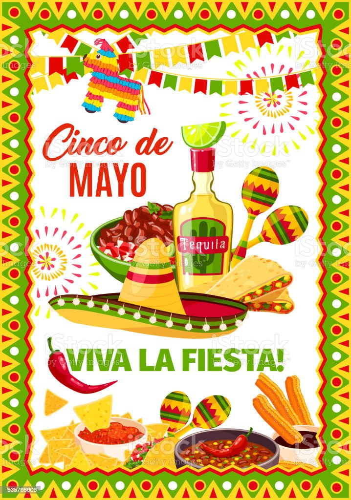Cinco de Mayo Mexican vector fiesta greeting card vector art illustration
