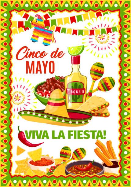cinco de mayo mexican vector fiesta greeting card - cinco de may stock illustrations, clip art, cartoons, & icons