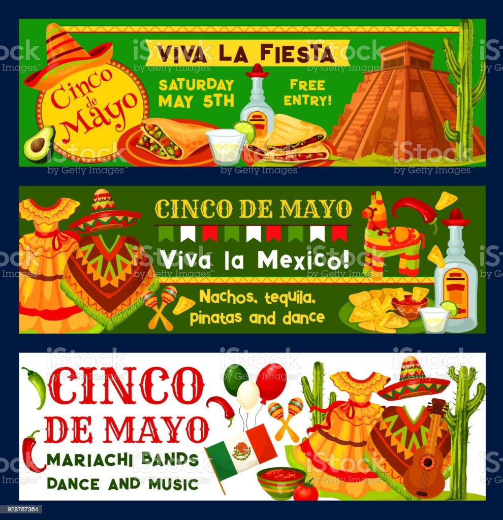 Cinco de Mayo Mexican vector fiesta party banners vector art illustration