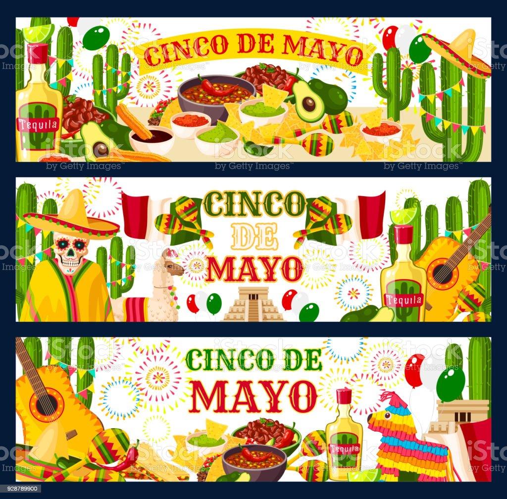 Cinco de Mayo Mexican vector greeting banners vector art illustration