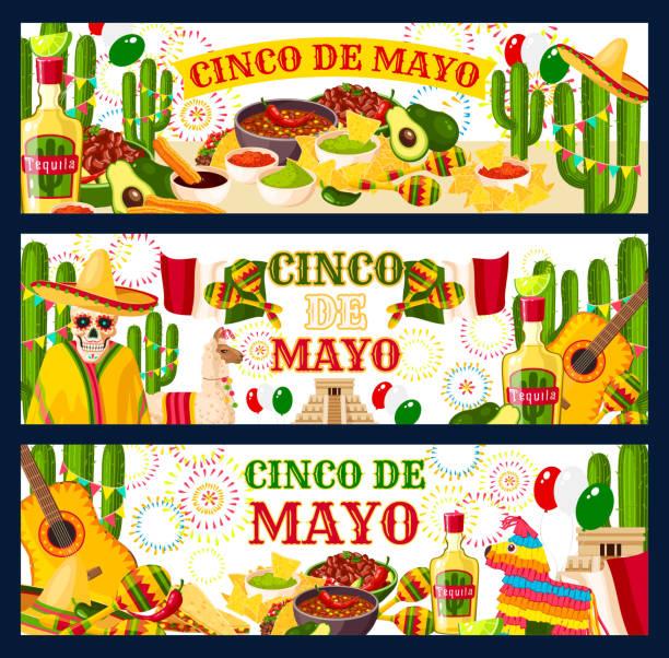 cinco de mayo mexican vector greeting banners - cinco de may stock illustrations, clip art, cartoons, & icons