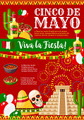 Cinco de Mayo greeting card for Mexican holiday fiesta party celebration of traditional symbols jalapeno pepper, sombrero and tequila or skull. Vector Mexico flag and Aztec pyramid for Cinco de Mayo