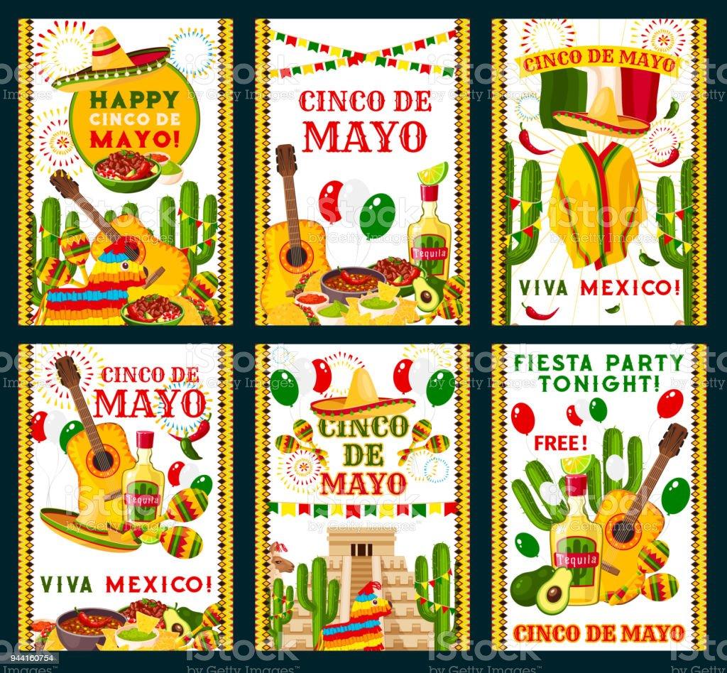 Cinco de Mayo Mexican vector greeting cards vector art illustration