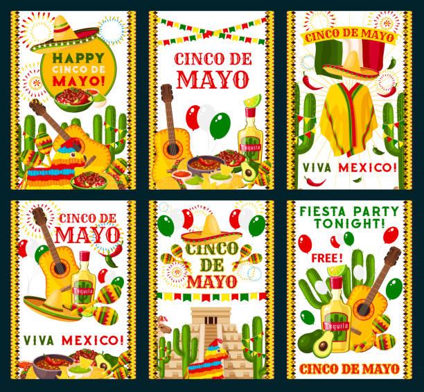 cinco de mayo mexican vector greeting cards - cinco de may stock illustrations, clip art, cartoons, & icons