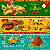 Cinco de Mayo Mexican party banners for holiday fiesta. Vector design of Mexico flag balloons, jalapeno pepper or sombrero on and cactus for Cinco de Mayo celebration invitation flyer or greeting card