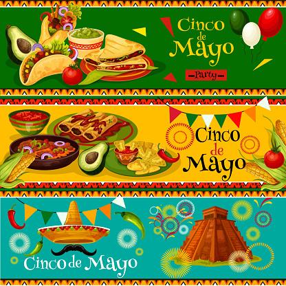Cinco de Mayo Mexican vector party banners
