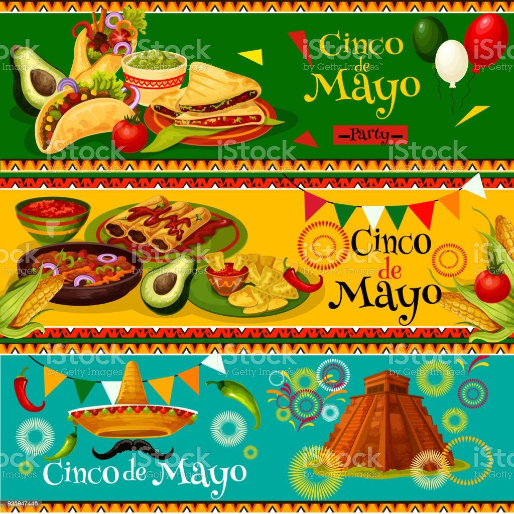 Banderas de fiesta cinco de Mayo mexicano vector - ilustración de arte vectorial