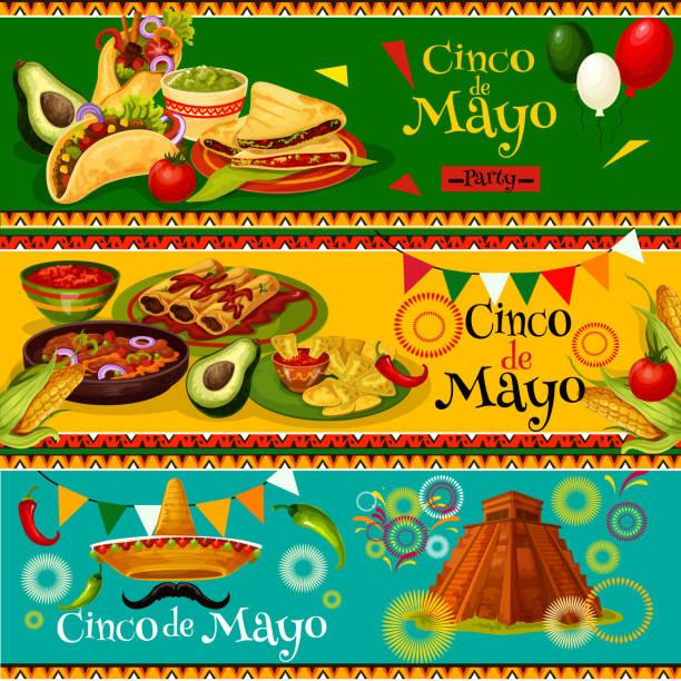 Bannières de parti mexicain vecteur Cinco de Mayo - Illustration vectorielle