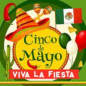 Cinco de Mayo Mexican greeting card for Viva la Fiesta holiday celebration. Vector design of Mexico flag balloons, jalapeno pepper or sombrero and maracas or cactus for Cinco de Mayo party