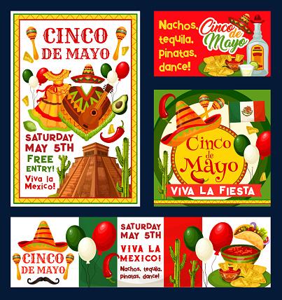 Cinco de Mayo Mexican vector party invitations