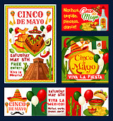 Cinco de Mayo Mexican holiday fiesta invitation cards for free entry to party celebration. Vector Cinco de Mayo flyers of Mexican flag on balloons, jalapeno pepper or avocado and sombrero on cactus
