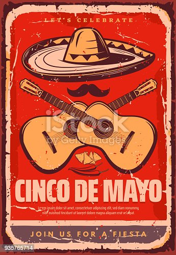 Cinco de Mayo Mexican holiday fiesta celebration retro poster for greeting card or party flyer. Vector jalapeno, guitar or sombrero and mustache for Mexican traditional Cinco de Mayo celebration