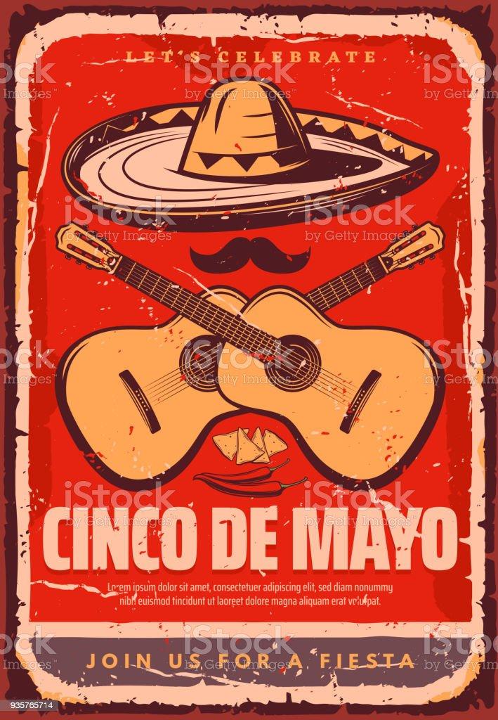 Cinco de Mayo Mexican vector sketch party poster vector art illustration