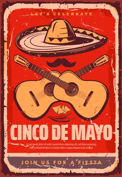 cinco de mayo mexican vector sketch party poster - cinco de may stock illustrations, clip art, cartoons, & icons