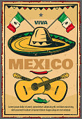 Cinco de Mayo Mexican holiday poster or greeting card in retro sketch design. Vector Viva Mexico greeting card of Mexican flag on sombrero, jalapeno pepper and guitars for 5 May fiesta celebration