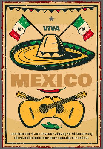 Cinco de Mayo Mexican vector sketch retro poster