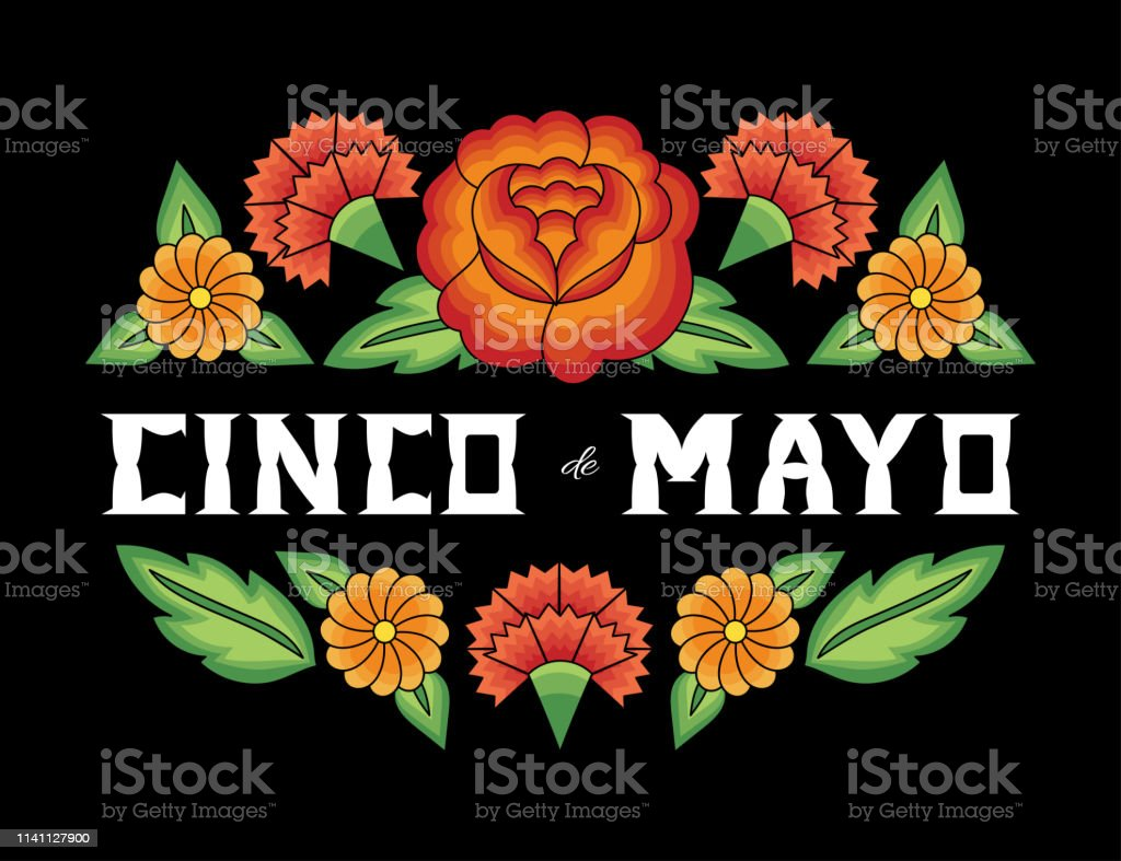 Cinco de Mayo, National Day, 5 May, illustration vector. Floral background with flowers pattern