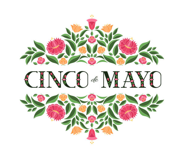 Cinco de Mayo, National Day, 5 May, illustration vector. Floral background with flowers pattern from traditional Mexican embroidery Cinco de Mayo, National Day, 5 May, illustration vector. Floral background with flowers pattern from traditional Mexican embroidery ornament for banner, flyer, poster, cover, tourist card design. cinco de mayo stock illustrations