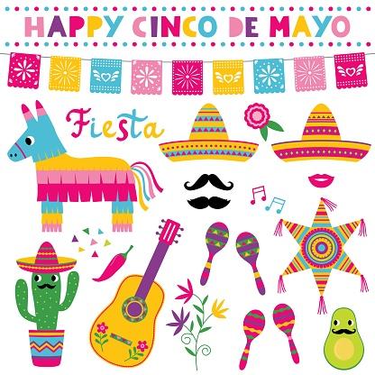 Cinco de Mayo, national Mexican holiday,  vector set (sombreros, pinatas, a guitar, colorful banners and decoration)