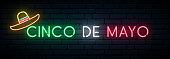 Cinco de Mayo neon banner. Mexican fiesta. Light signboard. Vector illustration.