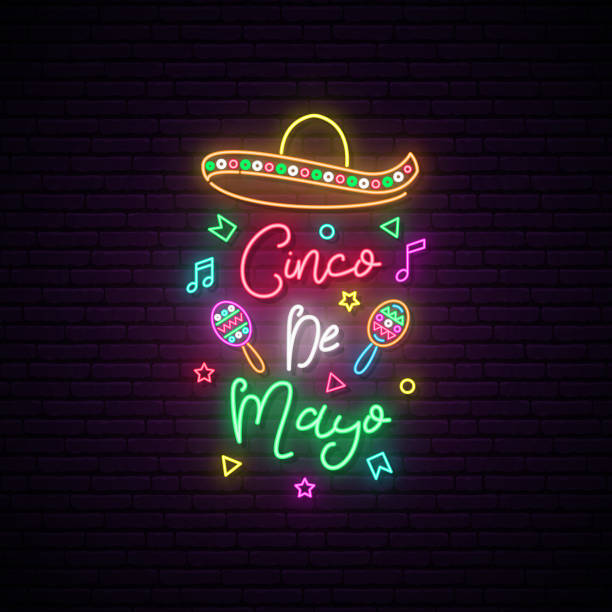 Cinco de Mayo neon signboard. Mexico greeting banner. Bright sombrero illustration. Cinco de Mayo neon signboard. Mexico greeting banner. Bright sombrero illustration. cinco de mayo stock illustrations