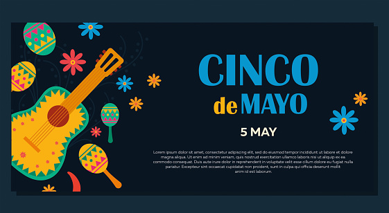 Cinco de Mayo on May 5th. Banner with a design for the federal holiday in Mexico with traditional Mexican symbols, guitar, flowers, red pepper, maracas stock illustration