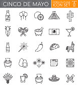 A group of 25 Mexican Cinco de Mayo 'open outline' thin line icons. File is built in the CMYK color space for optimal printing. Icons are grouped and easy to isolate.