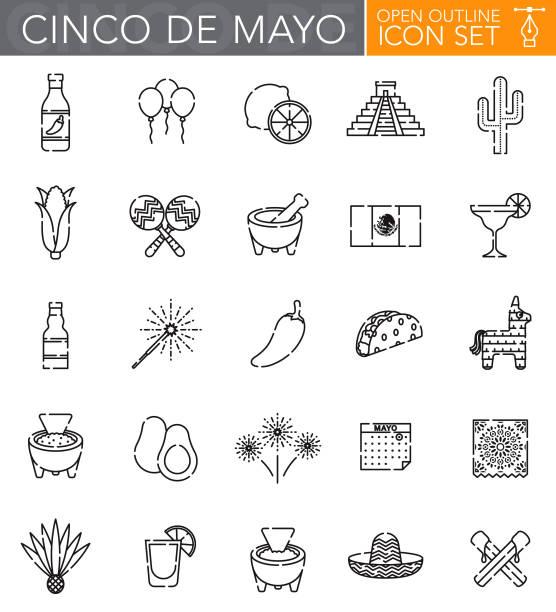 bildbanksillustrationer, clip art samt tecknat material och ikoner med cinco de mayo öppen disposition ikonuppsättning - cactus lime