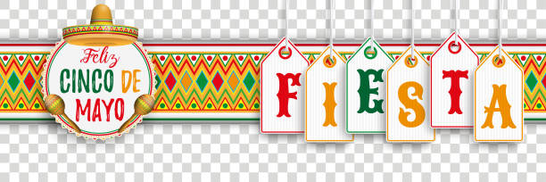 Cinco De Mayo Ornament Headline Emblem Fiesta Banner with price stickers, mexican ornaments and colored emblem Eps 10 vector file. cinco de mayo stock illustrations