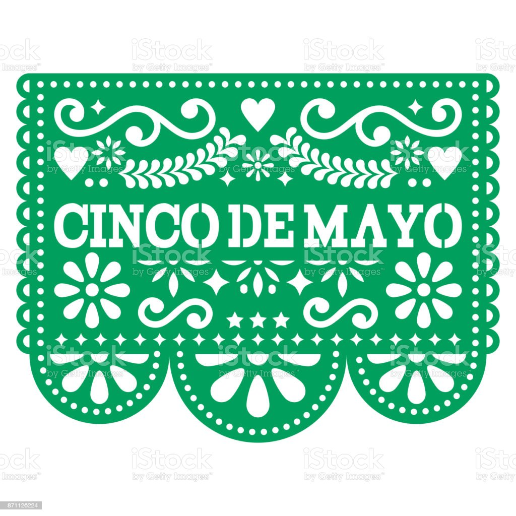 cinco de mayo papel picado vector design mexican paper decoration with pattern and text stock. Black Bedroom Furniture Sets. Home Design Ideas