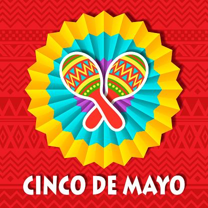 Cinco De Mayo Paper Fan & Maracas