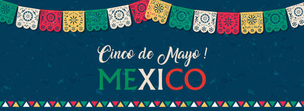 Cinco de Mayo paper flag banner for mexico holiday Happy Cinco de Mayo web banner illustration for mexico independence celebration. Typography quote with traditional papercut flag decoration. cinco de mayo stock illustrations