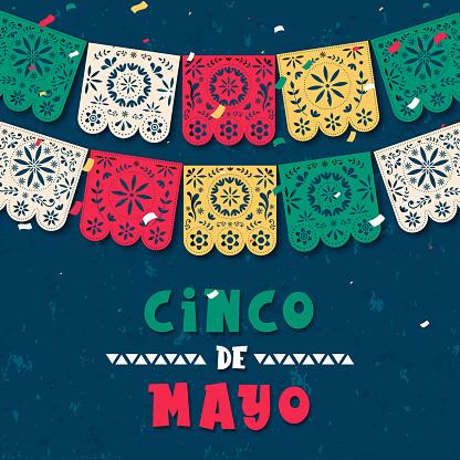 Cinco de Mayo paper flag card for mexico holiday