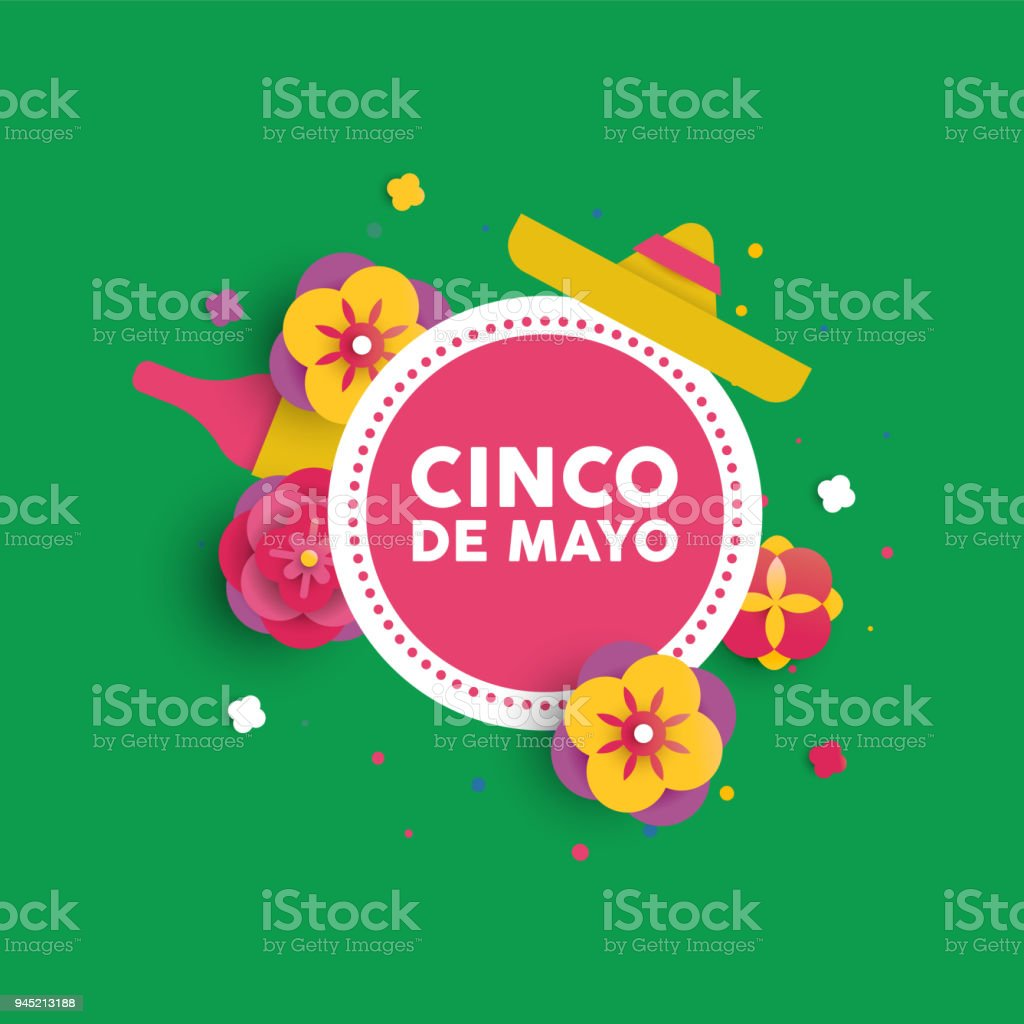 Cinco De Mayo Paper Flower Card For Mexican Party Stock Vector Art