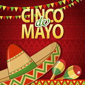 Join the Cinco De Mayo Fiesta held on 5 May with sombrero, maraca and bunting on the red colored Mexican pattern