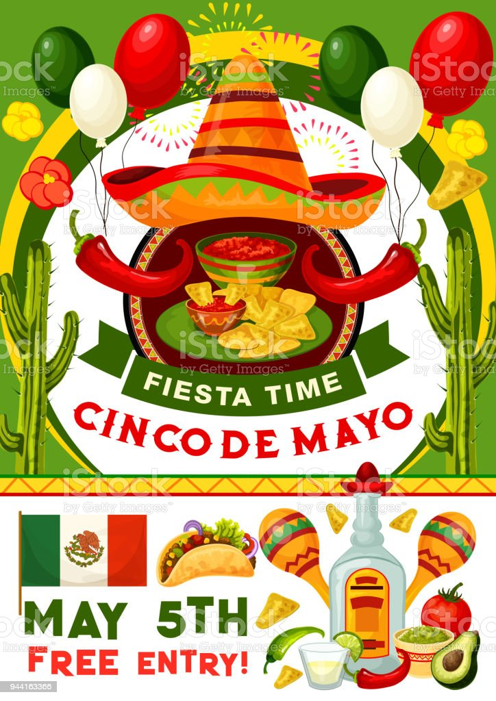 cinco de mayo party invitation of mexican holiday stock
