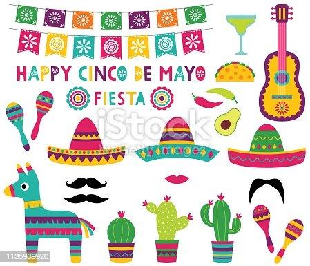 Cinco de Mayo party set (banner, sombreros, pinata, cacti, a guitar)